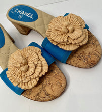 Load image into Gallery viewer, Chanel 12C turquoise blue beige cork heel slides EU 38