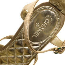 Load image into Gallery viewer, Chanel 15P Gold Leather Gladiator Strap Sandals with stones EU 39.5