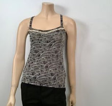 Load image into Gallery viewer, Chanel 05A pearl trim Lace overlay Black Tank Top Blouse FR 40 US 6