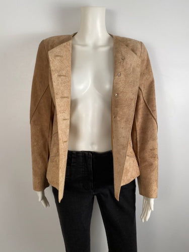 Vintage 00C, 2000 Cruise Chanel Identification Leather/Suede Rawhide Tan Jacket FR 36 US 4
