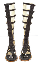 Load image into Gallery viewer, Chanel Gladiator 15S Strap Flat Sandal Boots Dark Grey Suede Leather EU 37.5 US 7