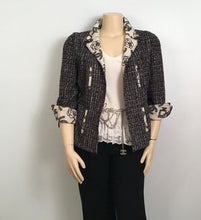 Load image into Gallery viewer, Chanel 2006 Spring, 06P Cotton tweed brown black white Blazer camellia jacket US 10/12