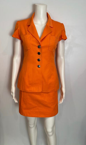 1990's Chanel Boutique Vintage Orange Mini Skirt Suit Set US 2