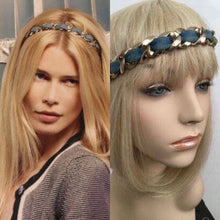 Load image into Gallery viewer, Chanel Vintage Denim Gold Chain Headband Hair Accessory