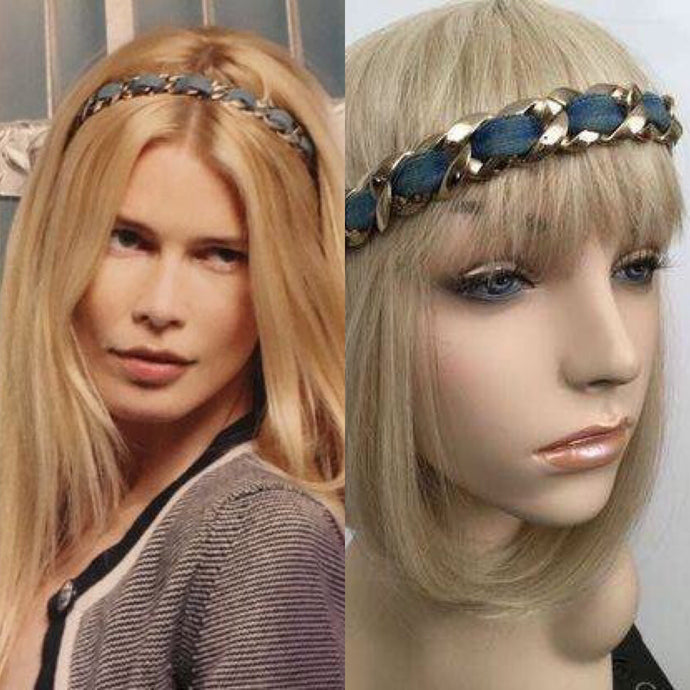 Chanel Vintage Denim Gold Chain Headband Hair Accessory
