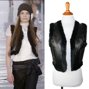 Chanel 05A Autumn Fall Vintage Leather Rabbit Fur Cropped Short Vest FR 40 US 4/6/8