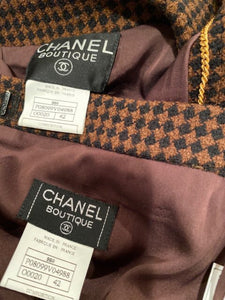Vintage Chanel 96A 1996 Fall Brown Belted Skirt Suit Set FR 42