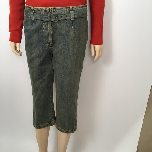 Chanel 00A Fall Autumn Vintage Denim Capri Belt Jeans Pants FR 40 US 4