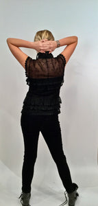 Chanel 04P Spring Black Sheer Lace Pearl Top Blouse lace, pearls,rufflesUS 6