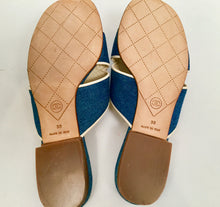 Load image into Gallery viewer, Chanel Denim camellia Flower Slip On Sandals Slides EU 38 US 7.5