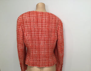 Chanel Vintage Orange 97P, 1997 Spring Plaid Tweed Blazer Dress Jacket US 10