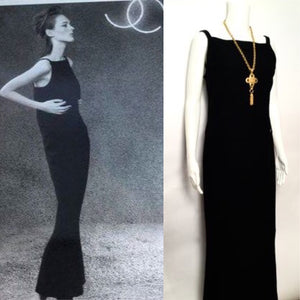 Chanel Vintage 04A Fall long black sleeveless wool gown dress FR 40 US 4
