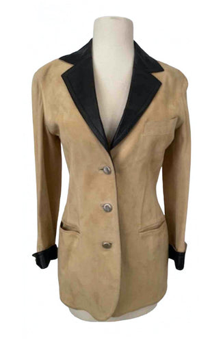 Vintage Chanel 98P 1998 Spring Suede and Lambskin Leather Beige/Dark Brown Trim Jacket FR 36