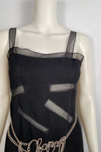 Load image into Gallery viewer, Vintage Chanel Boutique Black Dress with Sheer Rectangles FR 34-38 US 2/4/6