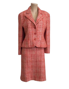 97P, 1997 Spring Vintage Chanel Boutique Orange Plaid Wool Tweed Jacket Blazer Skirt Suit Set US 8/10