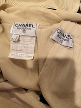 Load image into Gallery viewer, Rare! Vintage Chanel 80's/90's stretchy pants w matching cardigan Striped Ecru and Black FR 40