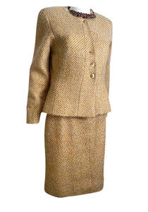Chanel 00A 2000 Fall Gold Skirt Suit FR 38