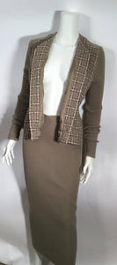 95A, 1995 Fall Rare Vintage Chanel knit dress attached tweed Boucle jacket FR 40 US 4