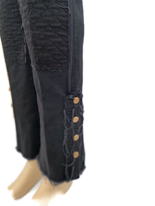 Chanel black with leather patchwork Denim Jeans Pants FR 38 US 4