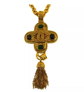 Chanel 94A Vintage poured glass Cabechon stones Cross Tassel CC Pendant tassel Necklace Red Green Gold Metal