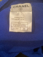 Load image into Gallery viewer, Short Chanel 04A Royal Blue Cashmere long sleeved  Shell Top Blouse cardigan  FR 38