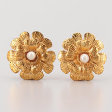 Load image into Gallery viewer, 1980's Collection 23 Vintage Chanel Clip On Gold Pearl Camellia Earrings