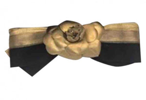 Chanel 12P, 2012 Spring Black Gold Camellia Flower Barrette Hair Accessory Clip