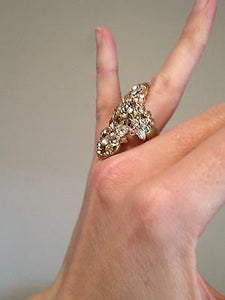 Chanel 16C Rare 'Fairy Bouquet' crystal CC Ring Size 5 1/4