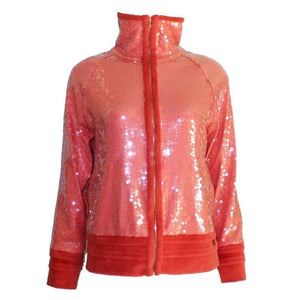 Chanel 2008 Cruise 08C Salmon Coral Orange Sequin Terry Cloth Bomber Jacket FR 40