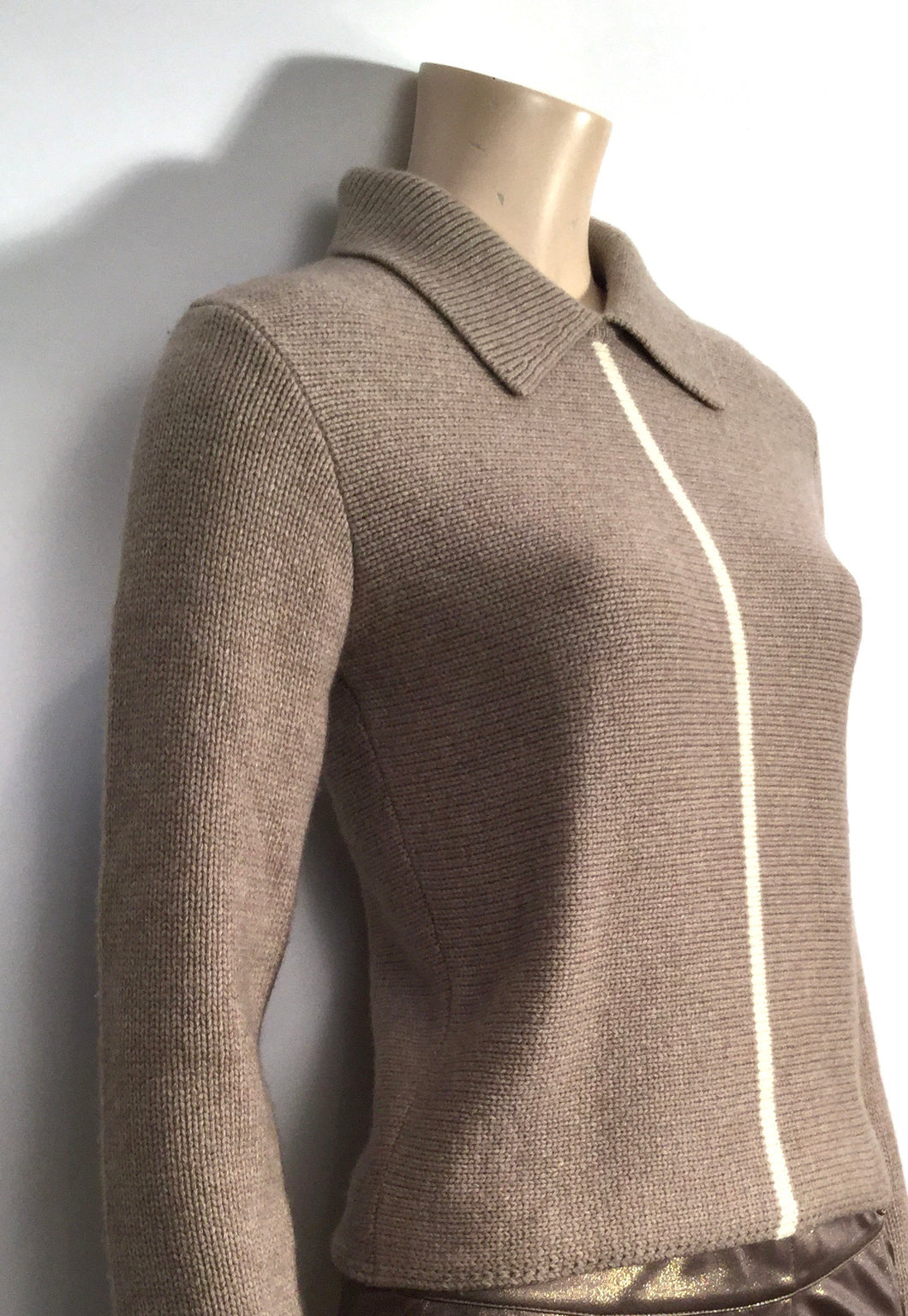 Vintage Chanel 99A pullover collar wool cashmere sweater taupe brown FR 34 US 2/4