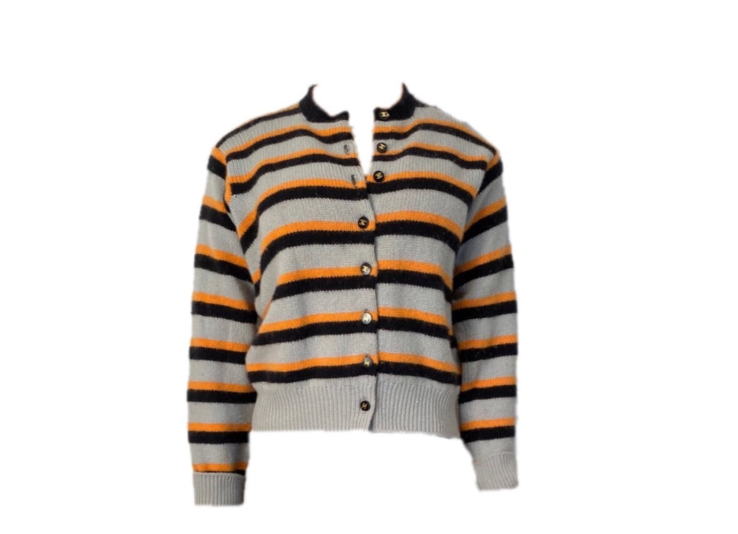 Chanel vintage 96A, 1996 Fall gray peach striped cashmere cardigan FR 44