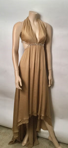 Chanel 03P Spring Vintage Beige Sequin Halter Backless Long Chiffon Silk gown FR 38 US 4
