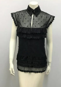 Chanel 04P Spring Black Sheer Lace Bow tie Pearl Top Blouse US 6