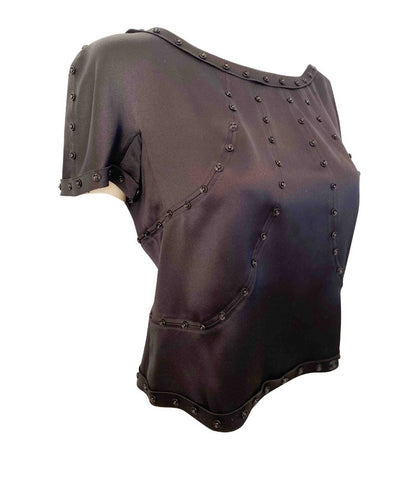Rare Chanel 03A Black Satin Snap Collection Blouse FR 42