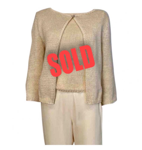 Vintage 00C Chanel Identification beige 2 piece sweater twinset FR 36 US 4