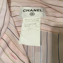 Load image into Gallery viewer, Vintage Chanel pink brown pinstripe Cotton Sleeveless Blouse Tunic Top US 6