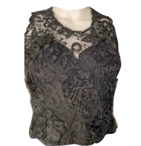 95A, 1995 Fall Rare Chanel Vintage elaborate Lace Short Sleeve Evening Top Blouse US 4