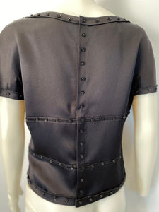 Chanel 03A Black Satin Snap Collection Blouse FR 42
