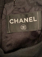 Load image into Gallery viewer, Chanel Black halter pleated keyhole Dress Wool Satin US 6
