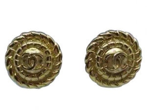 1989 Chanel Vintage Clip on Round Gold Metal CC logo Earrings