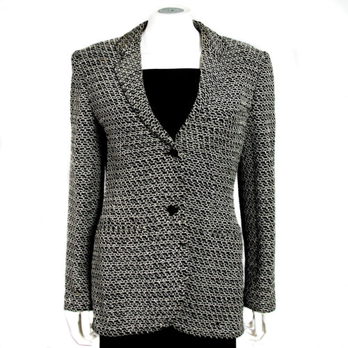 Vintage Chanel 98P, 1998 Spring black white blazer jacket FR 38 US 4