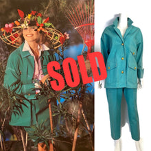Load image into Gallery viewer, 92P, 1992 Spring Chanel Green Denim 2 piece Jacket Pant Suit Oversized FR 34 US 4/6/8