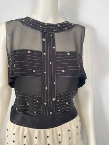 Chanel 2003 Fall 03A Snap Collection black silk chiffon blouse top FR 42 US 6/8