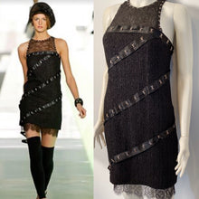Load image into Gallery viewer, Chanel 2003 Fall 03A Snap Collection Black Tweed Boucle Satin with Camellia lace dress US 4