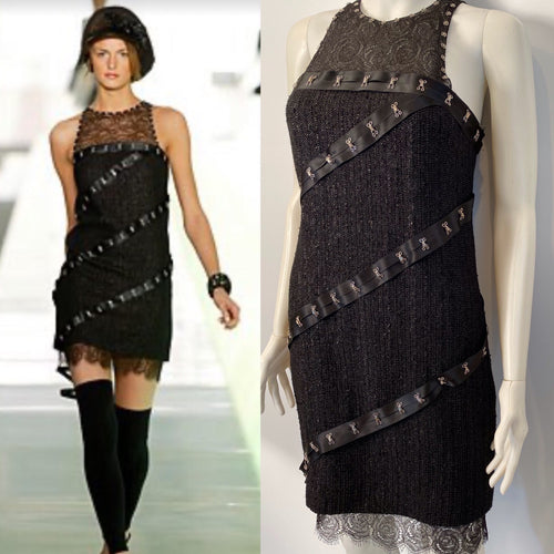 Chanel 03A Snap Collection Black Tweed Boucle Satin with Camellia lace dress US 4