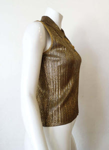 Vintage Chanel 01C Cruise Resort Sleeveless Gold Metallic Collar Polo Top Blouse FR 44