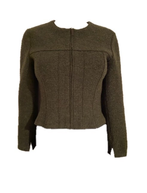 NWT Vintage 99A, 1999 Fall Chanel Identification olive green boiled wool short jacket FR 36 US 4