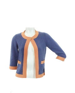 Chanel 07P 2007 Spring Dusty Blue Peach Trim Cashmere Cardigan Sweater FR 38 US 4