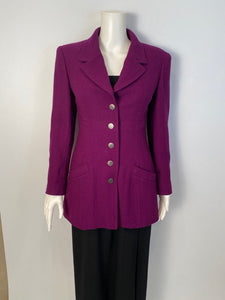 Chanel Vintage 97A, 1997 Fall Merlot Jacket Blazer FR 34 US 2/4