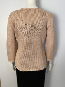Vintage Chanel Identification 00C, 2000 Cruise Resort Knit Beige Pullover Sweater FR 42 US 6